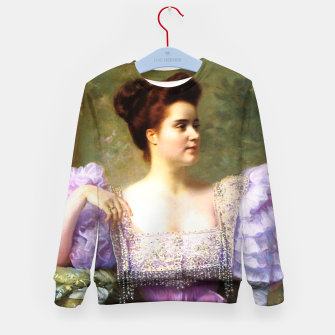 Thumbnail image of Young woman by a bouquet of hydrangeas Kid's sweater, Live Heroes