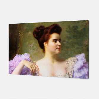 Thumbnail image of Young woman by a bouquet of hydrangeas Canvas, Live Heroes