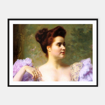 Thumbnail image of Young woman by a bouquet of hydrangeas Framed poster, Live Heroes
