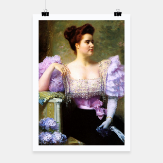 Thumbnail image of Young woman by a bouquet of hydrangeas Poster, Live Heroes