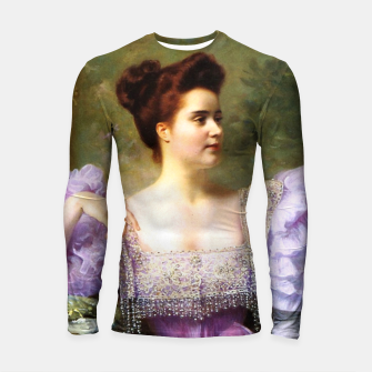 Thumbnail image of Young woman by a bouquet of hydrangeas Longsleeve rashguard , Live Heroes