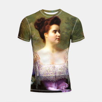 Thumbnail image of Young woman by a bouquet of hydrangeas Shortsleeve rashguard, Live Heroes