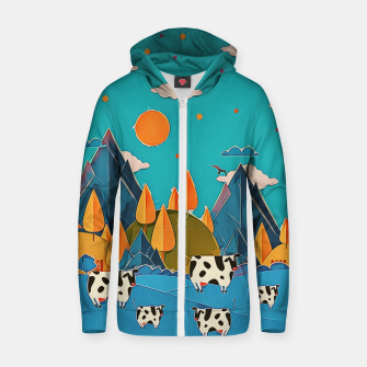 Thumbnail image of Cows Zip up hoodie, Live Heroes