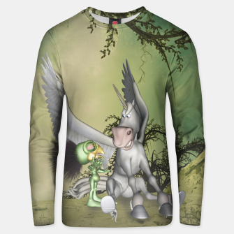 Thumbnail image of Cute bird with funny horse Unisex sweater, Live Heroes