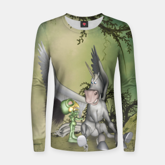 Thumbnail image of Cute bird with funny horse Women sweater, Live Heroes