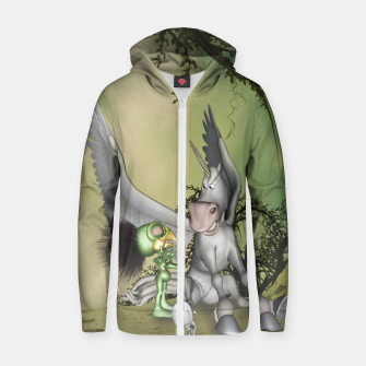 Thumbnail image of Cute bird with funny horse Zip up hoodie, Live Heroes