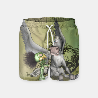 Thumbnail image of Cute bird with funny horse Swim Shorts, Live Heroes