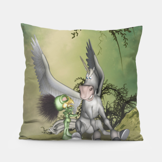 Thumbnail image of Cute bird with funny horse Pillow, Live Heroes