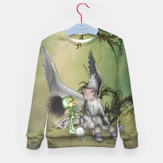 Thumbnail image of Cute bird with funny horse Kid's sweater, Live Heroes