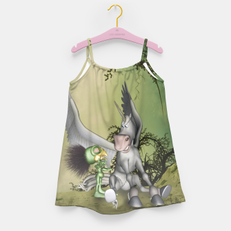 Thumbnail image of Cute bird with funny horse Girl's dress, Live Heroes