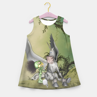 Thumbnail image of Cute bird with funny horse Girl's summer dress, Live Heroes