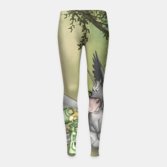 Thumbnail image of Cute bird with funny horse Girl's leggings, Live Heroes