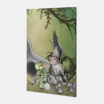 Thumbnail image of Cute bird with funny horse Canvas, Live Heroes