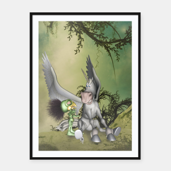 Thumbnail image of Cute bird with funny horse Framed poster, Live Heroes