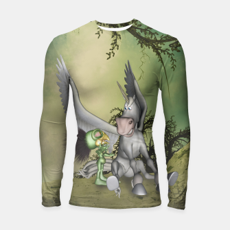 Thumbnail image of Cute bird with funny horse Longsleeve rashguard , Live Heroes