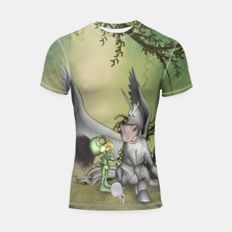Thumbnail image of Cute bird with funny horse Shortsleeve rashguard, Live Heroes