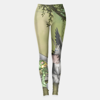 Thumbnail image of Cute bird with funny horse Leggings, Live Heroes