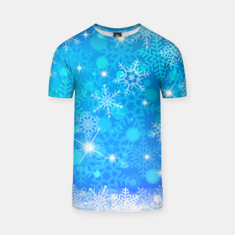 Miniatur White Blue Snowflakes Pattern T-shirt, Live Heroes