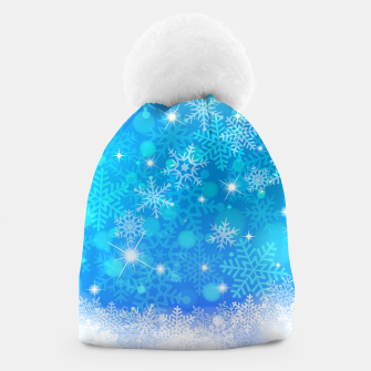 Miniatur White Blue Snowflakes Pattern Beanie, Live Heroes