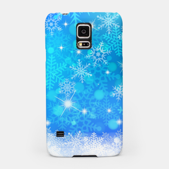 Miniatur White Blue Snowflakes Pattern Samsung Case, Live Heroes