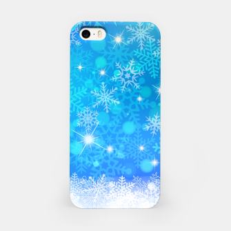 Miniatur White Blue Snowflakes Pattern iPhone Case, Live Heroes