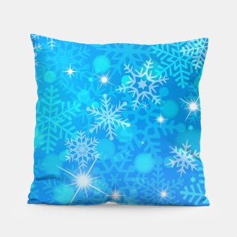 Miniatur White Blue Snowflakes Pattern Pillow, Live Heroes