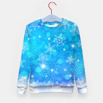 Miniatur White Blue Snowflakes Pattern Kid's sweater, Live Heroes