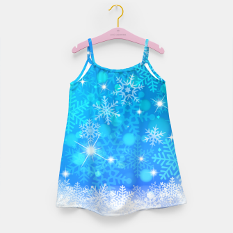 Miniatur White Blue Snowflakes Pattern Girl's dress, Live Heroes