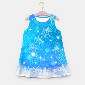 Miniatur White Blue Snowflakes Pattern Girl's summer dress, Live Heroes