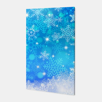 Miniatur White Blue Snowflakes Pattern Canvas, Live Heroes
