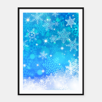 Miniatur White Blue Snowflakes Pattern Framed poster, Live Heroes