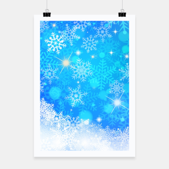 Miniatur White Blue Snowflakes Pattern Poster, Live Heroes