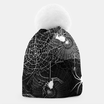 Thumbnail image of Black and White Spider Webs Beanie, Live Heroes