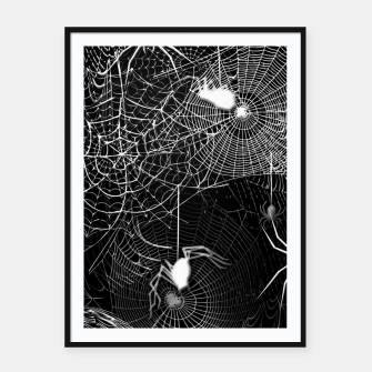 Thumbnail image of Black and White Spider Webs Framed poster, Live Heroes