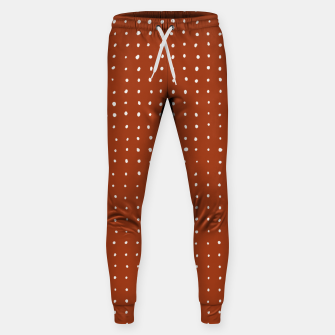 Thumbnail image of Light grey dots on rust Sweatpants, Live Heroes