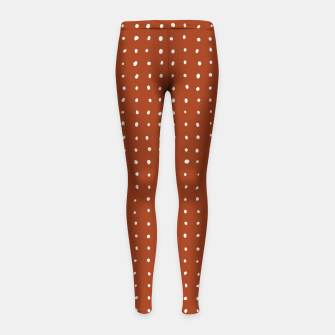 Thumbnail image of Light grey dots on rust Girl's leggings, Live Heroes