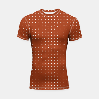 Thumbnail image of Light grey dots on rust Shortsleeve rashguard, Live Heroes