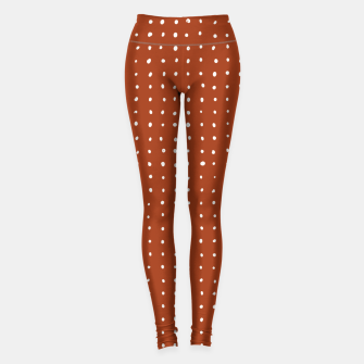 Thumbnail image of Light grey dots on rust Leggings, Live Heroes