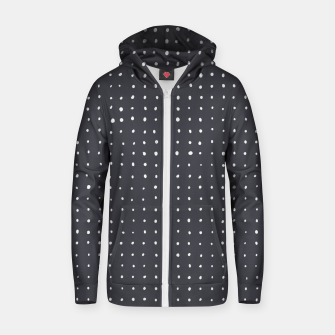 Thumbnail image of Light grey dots on grey Zip up hoodie, Live Heroes