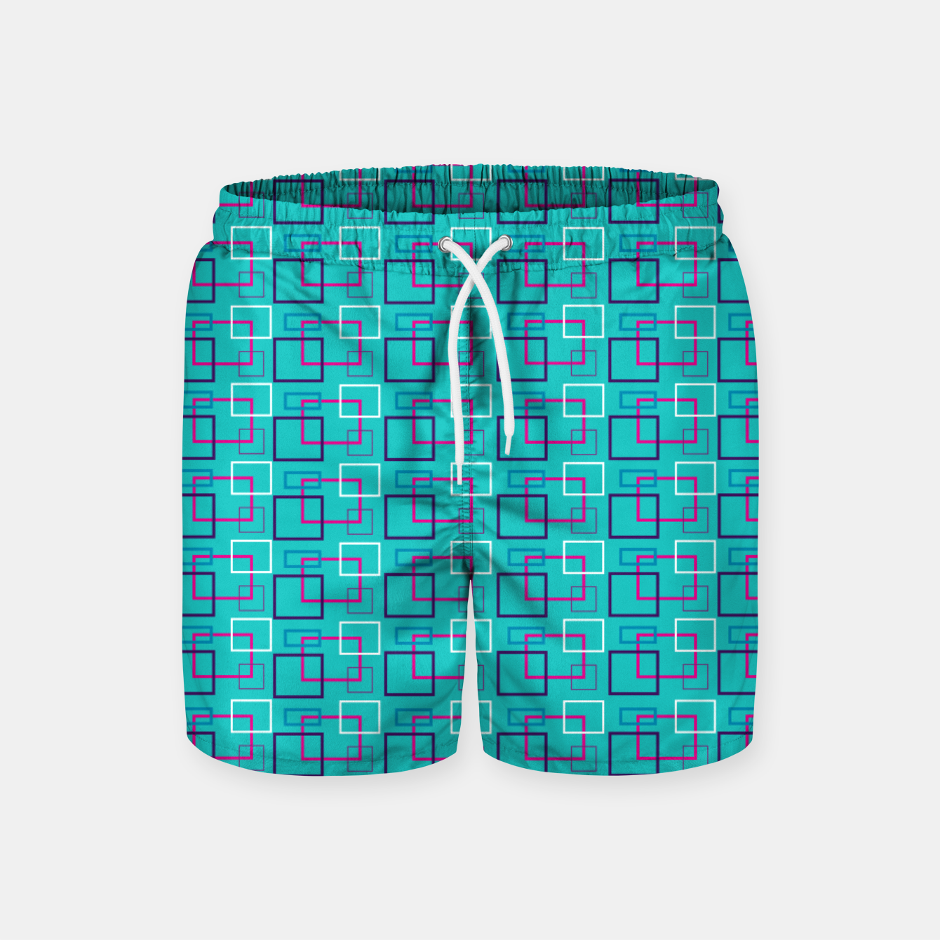 Image of Turquoise Layered Squares  Swim Shorts - Live Heroes