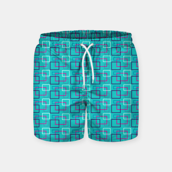 Turquoise Layered Squares  Swim Shorts thumbnail image