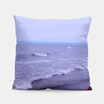 Thumbnail image of Lake Michigan Beach Waves Pillow, Live Heroes