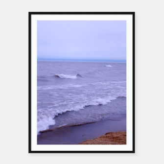 Thumbnail image of Lake Michigan Beach Waves Framed poster, Live Heroes