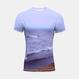 Thumbnail image of Lake Michigan Beach Waves Shortsleeve rashguard, Live Heroes