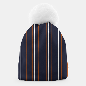 Thumbnail image of Navy and Rust Stripes Beanie, Live Heroes