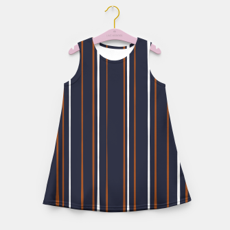 Thumbnail image of Navy and Rust Stripes Girl's summer dress, Live Heroes