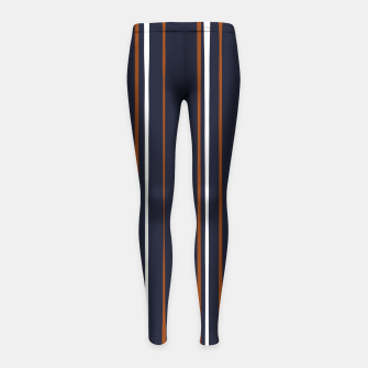 Thumbnail image of Navy and Rust Stripes Girl's leggings, Live Heroes