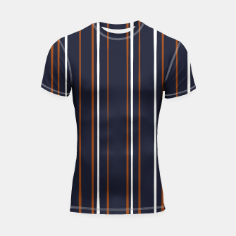 Thumbnail image of Navy and Rust Stripes Shortsleeve rashguard, Live Heroes