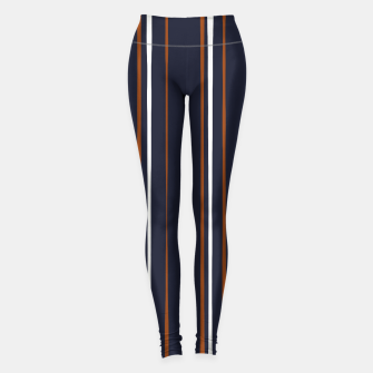 Thumbnail image of Navy and Rust Stripes Leggings, Live Heroes