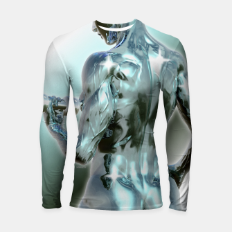 Thumbnail image of Female Chrome Bodybuilder Longsleeve rashguard, Live Heroes